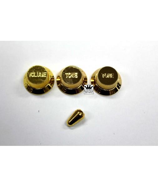 Fender Custom Shop set of 3 Gold Strat  knobs + 3 way tip 0990178002