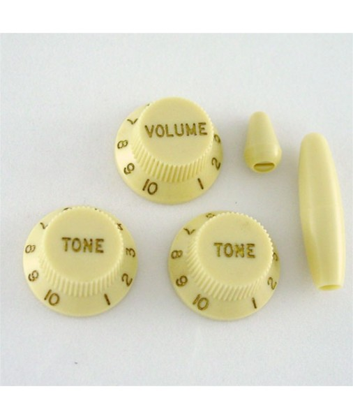 Fender Strat Knob Set Vintage Cream,Volume,Tone,Switch,Arm 0990178148