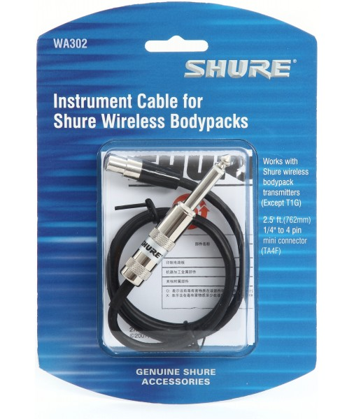 SHURE Guitar cable 6.5mm to TA4F WA302 SHRWA302