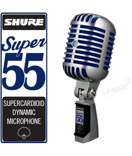 SHURE SUPER 55 Deluxe Mic Chrome with Blue foam