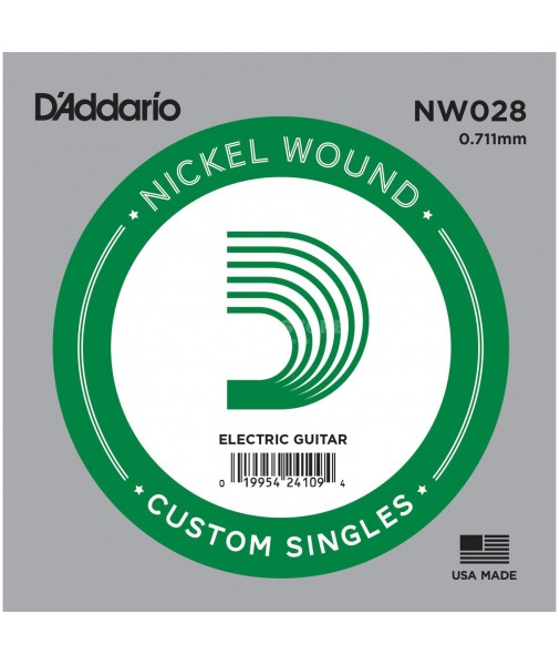 .028 Nickel Wound Electric Single String D'Addario  NW028